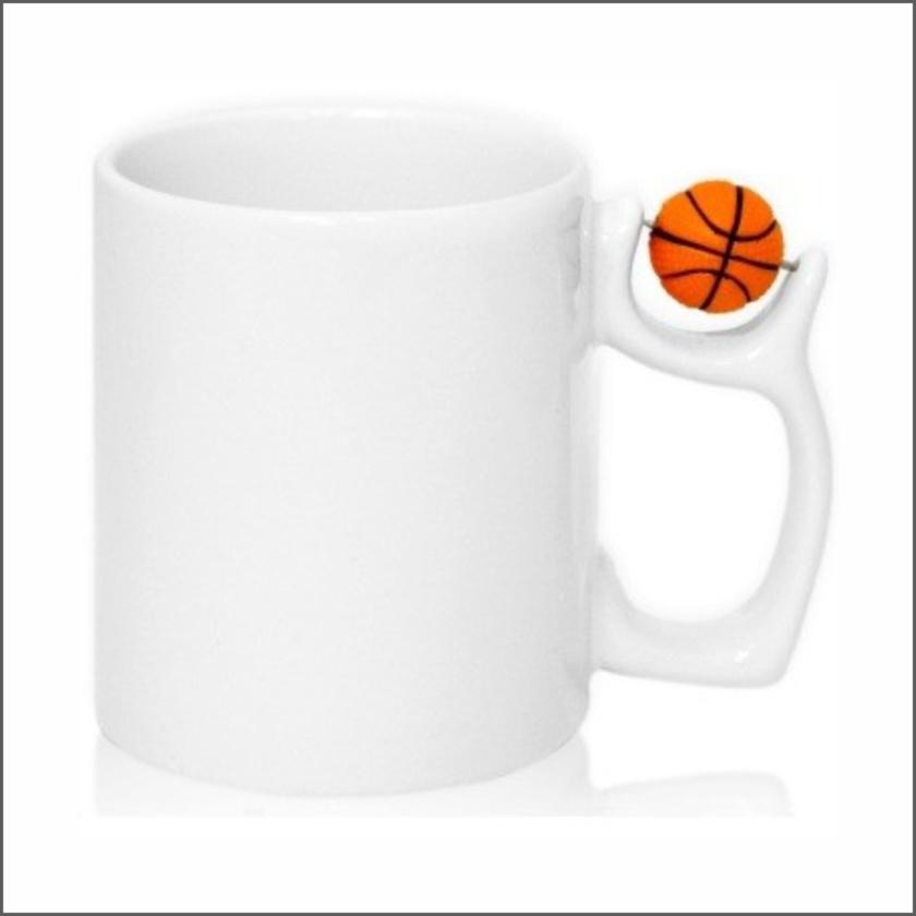 Кружка белая с мячём баскетбол